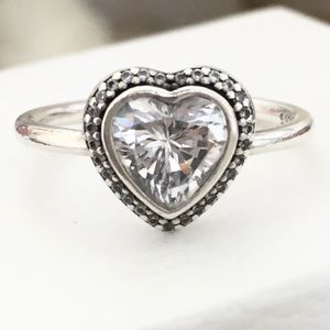 PANDORA STERLING CZ HEART RING SIZE 6.5
